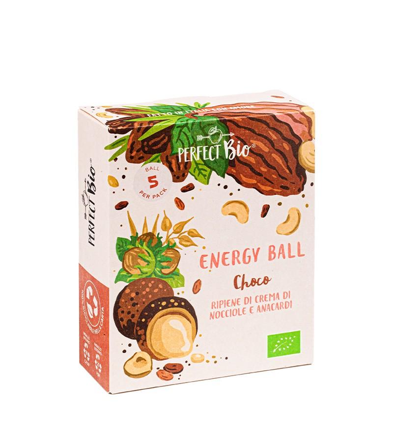 Energy ball choco ripiene di crema di nocciole e anacardi - Ambrosiae - 5 ball da 12 g.