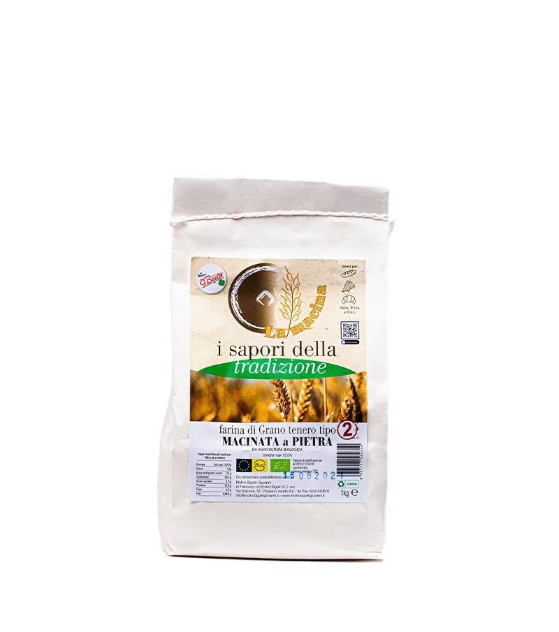 """Farina biologica di grano tenero """"TIPO 2"""" - Molino Bigolin - 1 kg."""