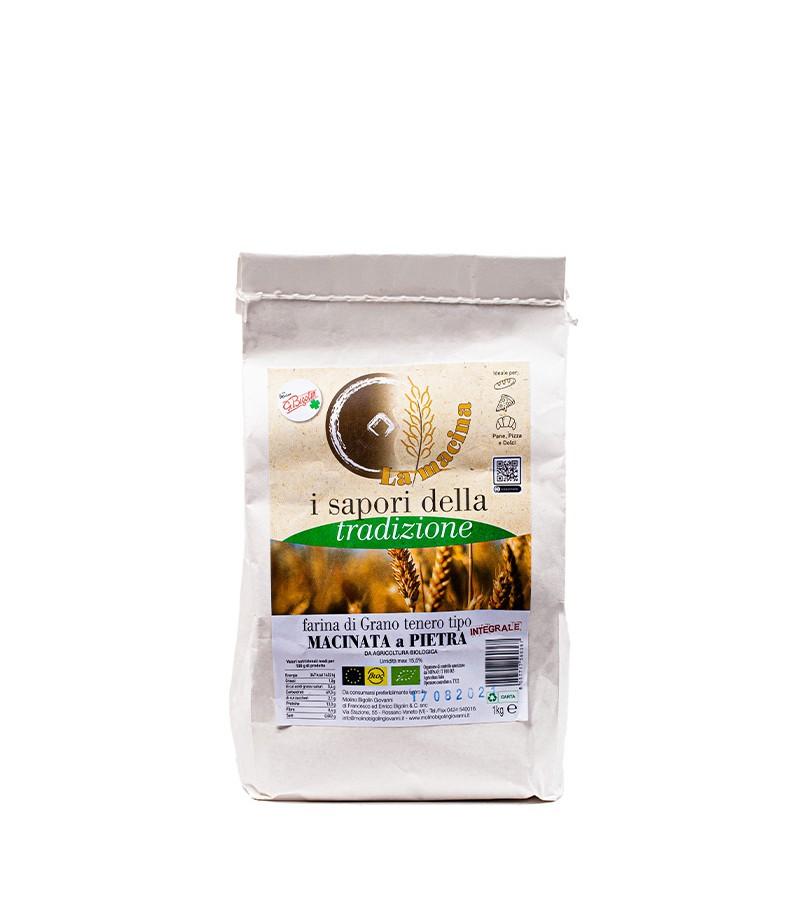 """Farina biologica di grano tenero """"TIPO INTEGRALE"""" - Molino Bigolin - 1 kg."""