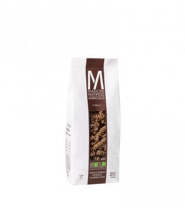 Fusilli integrali di pasta artigianale di semola di grano duro - Mancini - 500 g.