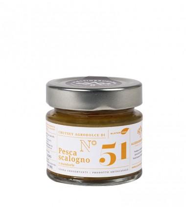 Chutney di pesche, scalogno e mandorle - Alessio Brusadin - 150 g.