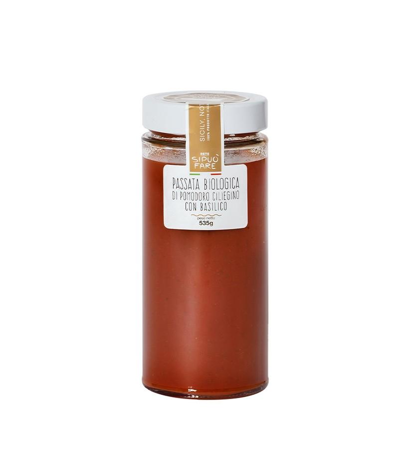 Passata biologica di pomodoro ciliegino con basilico - Si può fare - 535 g.