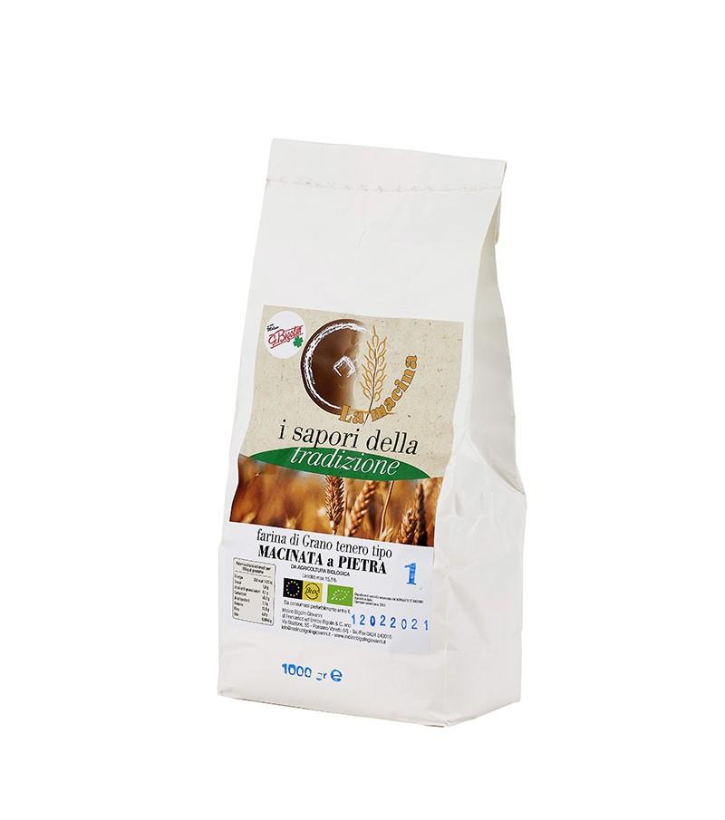 """Farina biologica di grano tenero """"TIPO 1"""" - Molino Bigolin - 1 kg."""