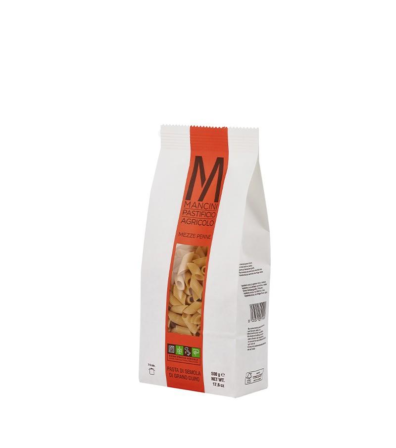 Mezze penne di pasta artigianale di semola di grano duro - Mancini - 500 g.
